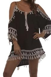 Swimsuit Cover Up Tassel Cold Shoulder Beachwear for Women Tunic Dress Solid Color