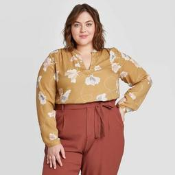 Women's Plus Size Floral Print Long Sleeve Blouse - Ava & Viv™ Olive