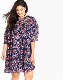 Coral Floral Print Layered Shift Dress