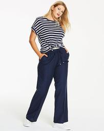Linen Mix Straight Leg Pants