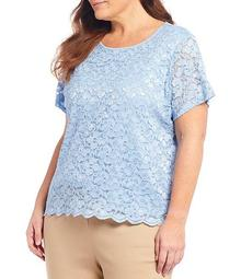 Plus Size Lace Scoop Neck Short Sleeve Top