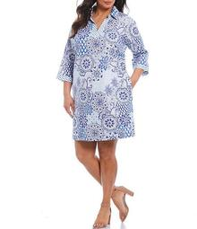 Plus Size Angel Wrinkle Free Cotton Sateen Paisley Tiles Print Dress