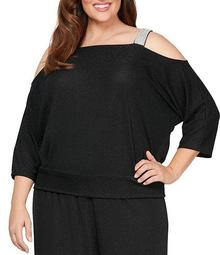Plus Size Embellished Cold Shoulder Metallic Knit Top