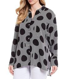 Plus Size Oversize Dot Long Sleeve Button Down Hi-Low Tunic