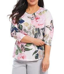 Plus Size Floral Butterfly Print Spun Knit Jersey Embellished 3/4 Sleeve Top