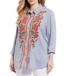 Plus Size Stripe Floral Embroidery 3/4 Sleeve Button Down Tunic