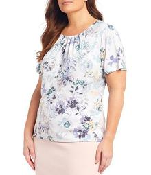 Plus Size Floral Print Matte Jersey Pleat Neck Short Sleeve Top