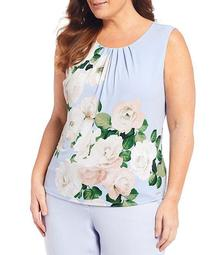 Plus Size Rose Print Matte Jersey Pleat Neck Sleeveless Top