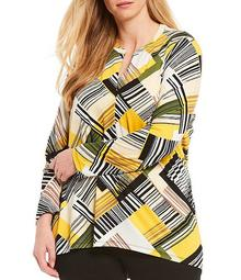 Jones New Plus Size York Bias Stripe Print Knit Soft Rib Crepe Pleat Split Neck Long Sleeve Top