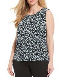 Plus Size Tiny Floral Print Matte Jersey Pleat Neck Sleeveless Top
