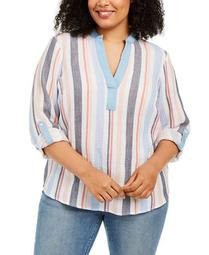 Plus Size Textured Striped Top, Created for Macy's