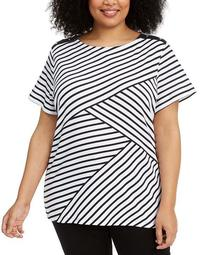 Plus Size Asymmetrical Striped Top, Created for Macy's