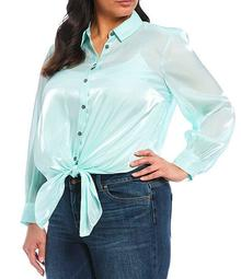 Plus Size Long Sleeve Button Down Iridescent Tie Front Blouse