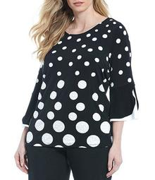 Plus Size Puffed Polka Dot Print Double Bell Sleeve Wide Crew Neck Jersey Top