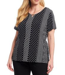 Plus Size Polka Dot Print Keyhole Neck Short Sleeve Top