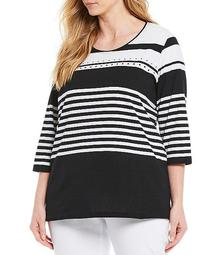 Plus Size Stripe Knit Jersey 3/4 Sleeve Embellished Detail Cotton Blend Top
