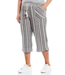 Plus Size Black Stripe Linen Capri Pant