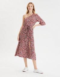AE One Shoulder Slit Midi Dress