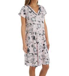 Miss Elaine Interlock Knit Short Sleeve Short Gown 809850