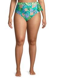 No Boundaries Juniors' Plus Size Etched Floral Swimsuit Bottoms