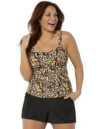 Swimsuits For All Women's Plus Size Flared Tankini Set with Cargo Short