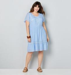 Flutter Sleeve Embroidered Dress
