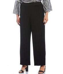 Plus Size Pleated Knit Pull-On Wide Leg Pants