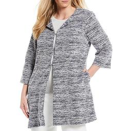 Plus Size Novelty Knit Cotton Blend Topper Jacket