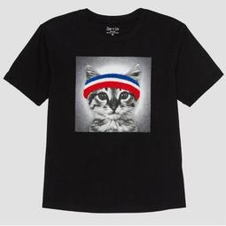 Women's Plus Size Cat Short Sleeve Graphic T-Shirt - Black