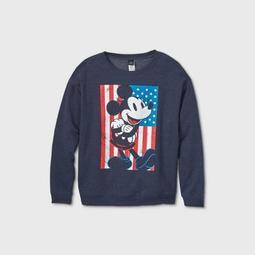 Women's Disney Mickey Mouse Flag Plus Size Graphic Sweatshirt - Navy