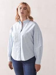 Printed Volume-Sleeve Shirt - Addition Elle