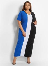 Colorblock Stretch Maxi Dress