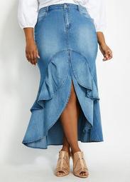 Ruffled Slit Front Denim Skirt