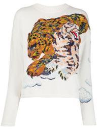 tiger-intarsia sweater