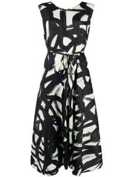 graphic print pleated dress