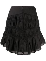 tiered-gathereing A-line mini skirt