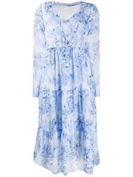 long-sleeve flared midi dress