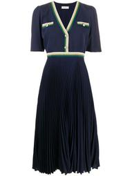 buttoned V-neck pleated dress