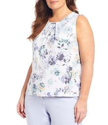 Plus Size Zen Floral Print Matte Jersey Pleat Bar Neck Detail Sleeveless Top