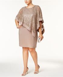 Plus Size Sequined Lace Cape Dress