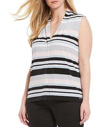 Plus Size Stripe Matte Jersey V-Neck Sleeveless Top