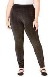 Roaman's Women's Plus Size Glittery Velour Legging