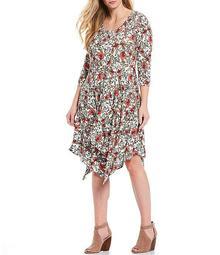 Plus Size Kaelin Floral Print 3/4 Sleeve Handkerchief Hem Dress