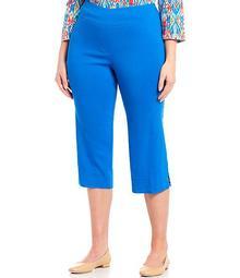 Plus Size Pull-On Lattice Side Hem Detail Capri Pants