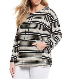 Plus Size Pebbled Striped Drawstring Round Neck Sweater Top