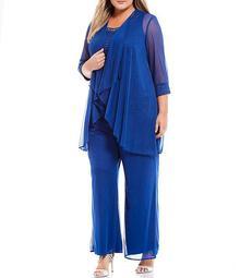 Plus Size Chiffon Lace Embellished Detail Duster 3-Piece Pant Set