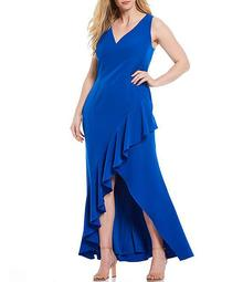 Plus Size V-Neck Asymmetrical Ruffle Hi-Low Gown