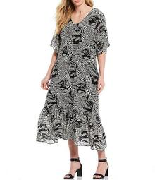 Plus Size Paisley Print V-Neck Short Flutter Sleeve Flounce Hem Midi Dress