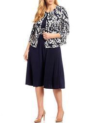 Plus Size Floral Print A-Line Jacket Dress