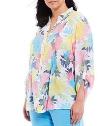Plus Size Bloom Print Roll-Tab Sleeve Button Front Pintuck Top